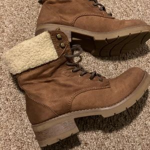 Brown shearling boots